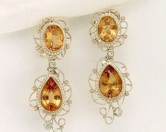Yellow Topaz and Gold Earring Set