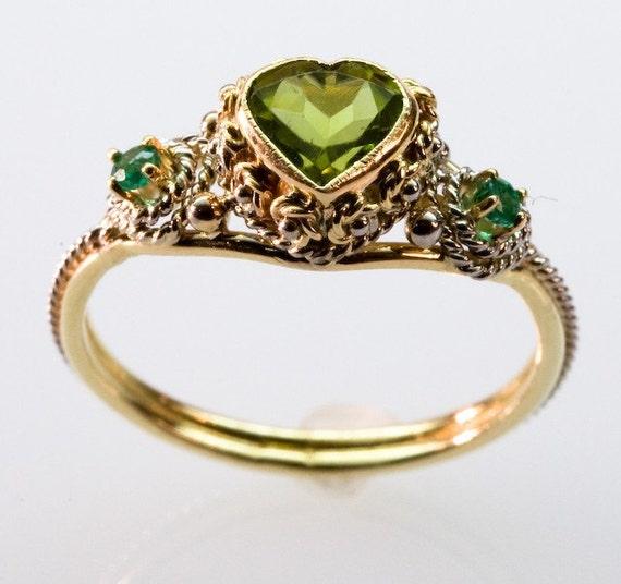 peridot and emerald ring by fernandojewelry on etsy
