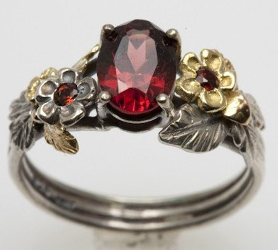 items similar to garnet engagement ring in recycled silver and 18k gold on etsy