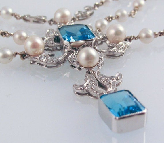 Blue Topaz & Pearl Opera Necklace - in 14K white gold