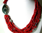 SALE 20% OFF 925 Sterling Silver and Red Coral Necklace