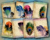 INSTANT DOWNLOAD Feathers on Vintage Letter Aged ATCs ACEOs or Jewelry Holders 2.5 X 3.5 inch - DigitalPerfection digital collage sheet 912