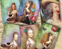 Instant Download Digital Collage Sheet Let Them Eat Cake Marie Antoinette ATC 2.5 X 3.5 inch - DigitalPerfection digital collage sheet 783