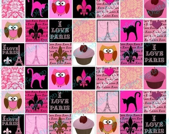 INSTANT DOWNLOAD Digital Collage Sheet I Love Paris in Pink, White and Black 1 inch squares - DigitalPerfection digital collage sheet 509