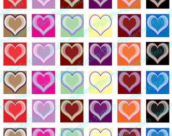 Instant Download Digital Collage Sheet - Glowing Hearts 1 inch Squares - DigitalPerfection digital collage sheet 015