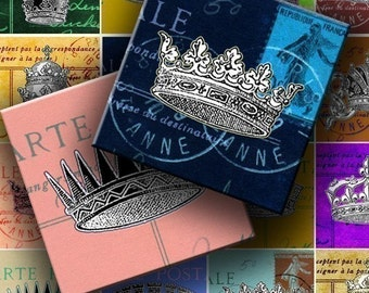 INSTANT DOWNLOAD Digital Collage Sheet - Crowns on Vintage Postcards 1 inch squares - DigitalPerfection digital collage sheet 635