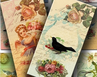 INSTANT DOWNLOAD Romantic and Vintage Birds and Flowers 1 X 2 inch Domino Size - DigitalPerfection digital collage sheet 657