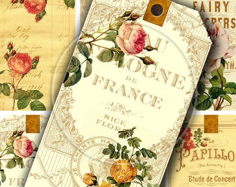 Instant Download Digital Collage Sheet Vintage Roses on Vintage Ads Gift Tags 2.5 X 4.5 inch - DigitalPerfection digital collage sheet 762