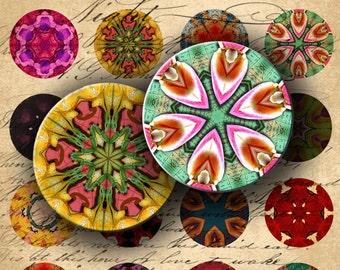 INSTANT DOWNLOAD Modern Kaleidoscope Mandalas 1 inch Circles for your Artwork - DigitalPerfection digital collage sheet 460