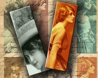 INSTANT DOWNLOAD Digital Collage Sheet Vintage Images of Women 1 X 3 inch - DigitalPerfection digital collage sheet 470