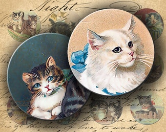 INSTANT DOWNLOAD Digital Collage Sheet - Vintage Cats Postcards 1 inch circles - DigitalPerfection digital collage sheet 172