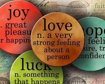 "INSTANT DOWNLOAD Dictionary Inchies in Circles 1"" X 1"" - Love, Hope, Luck, Joy and Faith - DigitalPerfection digital collage sheet 520"