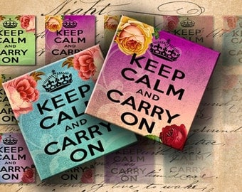 INSTANT DOWNLOAD Keep Calm and Carry On on Vintage Background with Roses 1 inch Squares - DigitalPerfection digital collage sheet 788