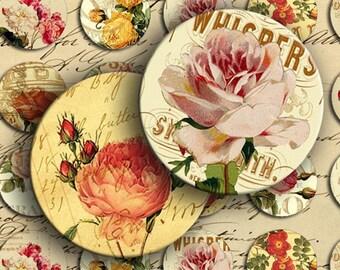 Instant Download Digital Collage Sheet Vintage Roses on Vintage Ads 1 inch Circles - DigitalPerfection digital collage sheet 807