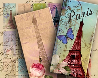 INSTANT DOWNLOAD Digital Collage Sheet Eiffel Tower 1 x 2 inch Images (Domino Tile Size) - DigitalPerfection digital collage sheet 809