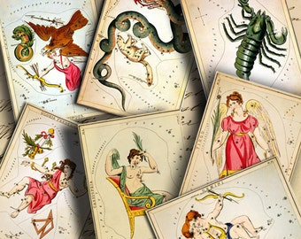 Instant Download Vintage Constellation Astrology Signs ATCs ACEOs 2.5 X 3.5 inch - DigitalPerfection digital collage sheet 833