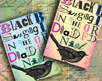 INSTANT DOWNLOAD Blackbird Singing in the Dead of Night ATC's 2.5 X 3.5 inch - DigitalPerfection digital collage sheet 538