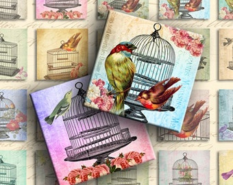 INSTANT DOWNLOAD Digital Collage Sheet - Fly Away - Birds and Birdcages 1 inch Squares - DigitalPerfection digital collage sheet 835