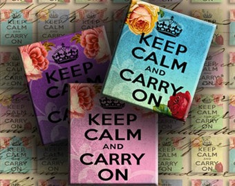 INSTANT DOWNLOAD Keep Calm and Carry On Vintage Background with Roses 0.75 X 0.85 inch - DigitalPerfection digital collage sheet 847