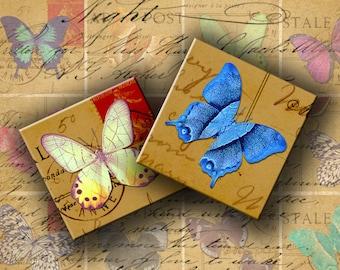 INSTANT DOWNLOAD Digital Collage Sheet - Butterflies on Vintage Postcards 2 inch Squares - DigitalPerfection digital collage sheet 670