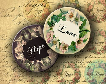 Instant Download Digital Collage Sheet Love, Hope and Faith 2 inch Circles - DigitalPerfection digital collage sheet 886