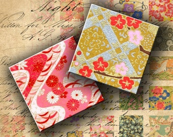 INSTANT DOWNLOAD Digital Collage Sheet - Chiyogami Washi Yuzen Japanese Paper 1 inch Squares - DigitalPerfection digital collage sheet 144