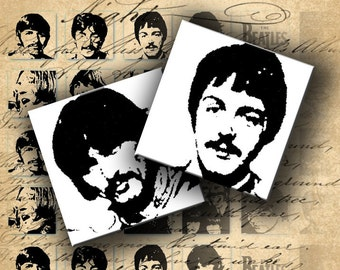 Instant Download Digital Collage Sheet The Beatles Black and White 1 inch Squares - DigitalPerfection digital collage sheet 029