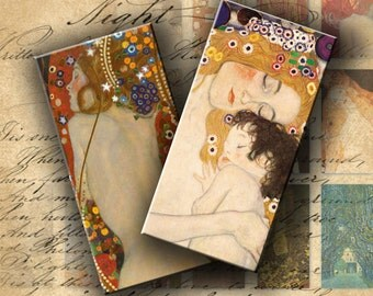 INSTANT DOWNLOAD Digital Collage Sheet Gustav Klimt Images 1 X 2 inch - DigitalPerfection digital collage sheet 162