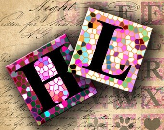 INSTANT DOWNLOAD Digital Collage Sheet - ABC on Stained Glass 1 inch Squares - DigitalPerfection digital collage sheet 441