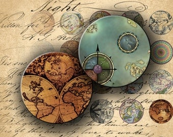 INSTANT DOWNLOAD Digital Collage Sheet Antique Maps 1 inch Circles - DigitalPerfection digital collage sheet 201