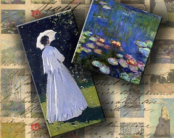 INSTANT DOWNLOAD Images of Paintings by Claude Monet - 1 X 1 inch and 1 X 2 inch - DigitalPerfection digital collage sheet 079