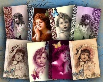 Instant Download Digital Collage Sheet Cute Girls ATCs ACEOs 2.5 X 3.5 inch - DigitalPerfection digital collage sheet 560