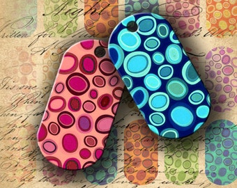 Instant Download Digital Collage Sheet Crazy Colorful Dogtags 1 X 2 inch - DigitalPerfection digital collage sheet 555