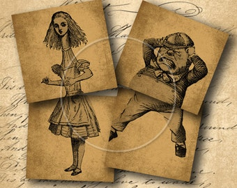 INSTANT DOWNLOAD Vintage Alice in Wonderland Images for Coasters 4 X 4 inch (2 Sheets) - DigitalPerfection digital collage sheet 916
