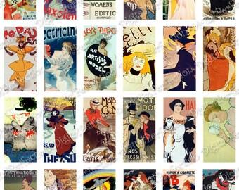 INSTANT DOWNLOAD Digital Collage Sheet Maitres de l'Affiche Vintage Posters 1 X 2 inch - DigitalPerfection digital collage sheet 278