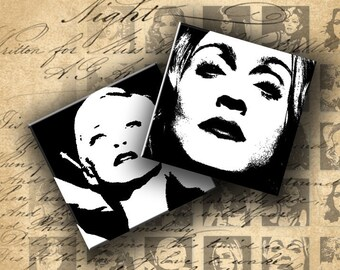 Instant Download Digital Collage Sheet - Madonna in Black and White - 1 inch Squares - DigitalPerfection digital collage sheet 064