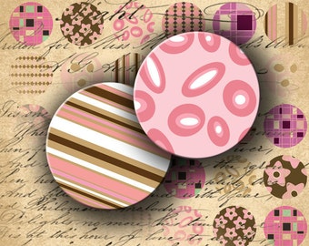 Instant Download Digital Collage Sheet Retro Pink and Brown 1 inch Circles - DigitalPerfection digital collage sheet 653