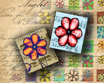 INSTANT DOWNLOAD Flowers and Music Notes 0.75 X 0.85 inch (Scrabble Size) - DigitalPerfection digital collage sheet 471