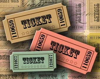 Vintage Style Tickets 1.25 X 2.85 inch Images INSTANT DOWNLOAD Digital Collage Sheet - DigitalPerfection digital collage sheet 920