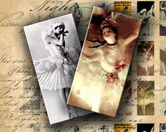 INSTANT DOWNLOAD Digital Collage Sheet Ballerina Vintage Images 0.75 X 1.5 inch (Bamboo Size) - DigitalPerfection digital collage sheet 341