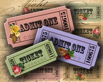INSTANT DOWNLOAD Vintage Looking Tickets with Roses 1.25 X 2.85 inch for your Artwork - DigitalPerfection digital collage sheet 924