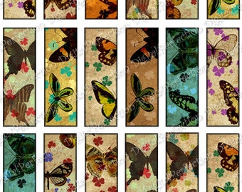 INSTANT DOWNLOAD Butteflies and Shamrocks 1 X 3 inch (Microscope Slides) for your Artwork - DigitalPerfection digital collage sheet 452