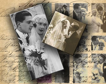 INSTANT DOWNLOAD Digital Sheet Vintage Images Brides and Grooms 1 X 2 inch and 1 inch Squares - DigitalPerfection digital collage sheet 200