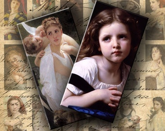 Instant Download Digital Collage Sheet Bouguereau Paintings Images 1 X 2 inch - DigitalPerfection digital collage sheet 068