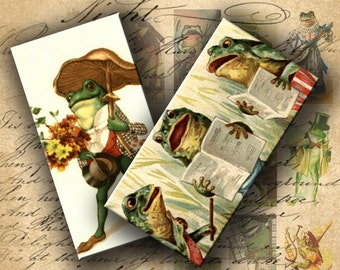 INSTANT DOWNLOAD Digital Collage Sheet Frogs from Vintage Postcards 1 X 2 inch - DigitalPerfection digital collage sheet 413