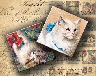 INSTANT DOWNLOAD Digital Collage Sheet - Vintage Cats Postcards 1 inch squares - DigitalPerfection digital collage sheet 169