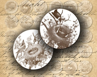 INSTANT DOWNLOAD Digital Collage Sheet Bird's Nest 1 inch Circles for your Artwork - DigitalPerfection digital collage sheet 700