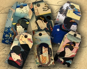 INSTANT DOWNLOAD Digital Collage Sheet Japanese Men and Women Gift Tags - DigitalPerfection digital collage sheet 153