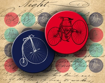 INSTANT DOWNLOAD Digital Collage Sheet Vintage Bicycle 1 inch Circles for your Artwork - DigitalPerfection digital collage sheet 937