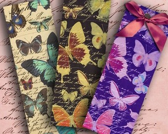 INSTANT DOWNLOAD Butterflies on a Vintage Letter Original Bookmarks 1.7 X 5.2 inch - DigitalPerfection digital collage sheet 941